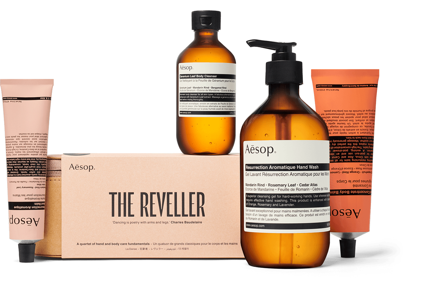 The Reveller gift kit includes a spread of hand and body care products.